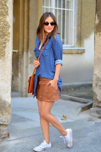 www.romilikes.com #hm shirt #mango #leather #skirt #shein #bag