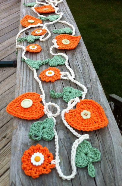 Garland  Bunting  Orange and green  Crochet  Home by BitsOfFiber, $25.00