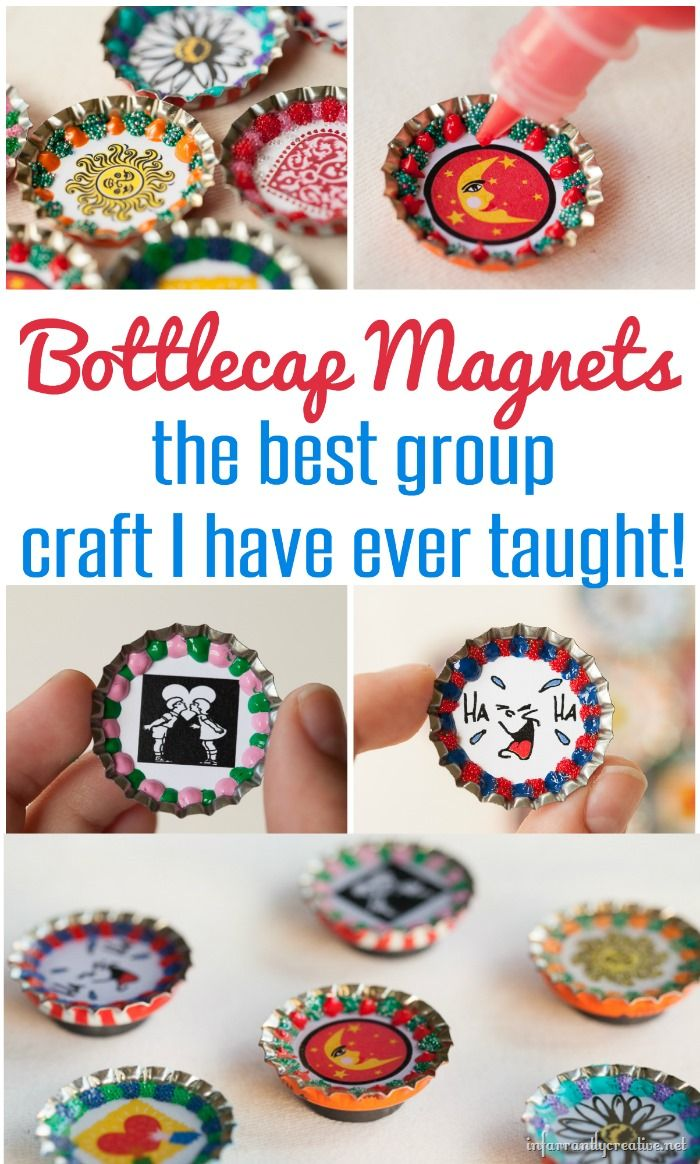 How to make bottlecap magnets - the perfect group craft!