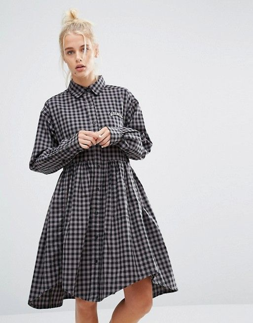 Lazy Oaf | Lazy Oaf Shirt Smock Dress In Gingham With Bored Slogan