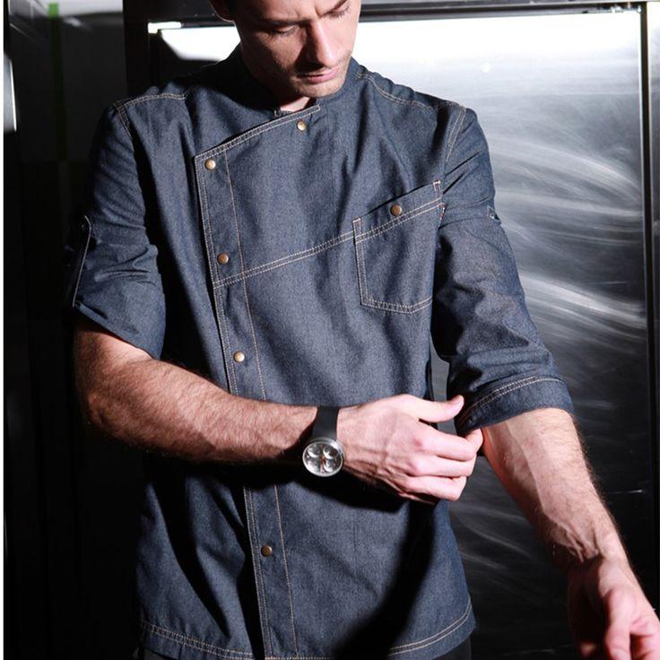 2017 Restaurant Hotel Kitchen Chef Coats Jackets Uniform Chambray Denim FabricAdjustable Long Sleeves Unisex