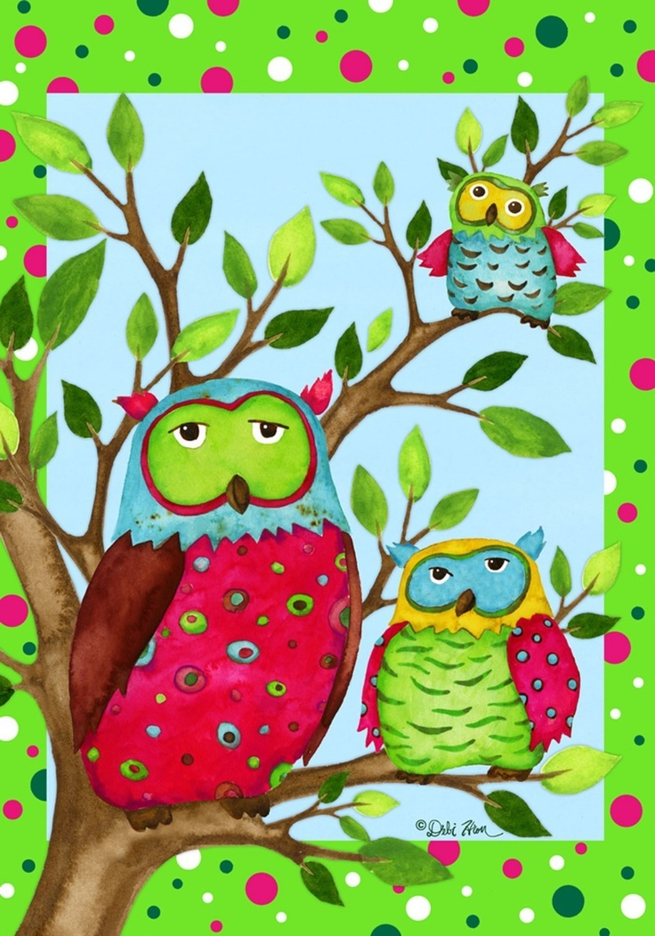Owl Family Decorative Flag   Standard Flags, Garden Flags, Spring And  Summer Flowers, Bird Designs Along With Other Seasonal Designs.