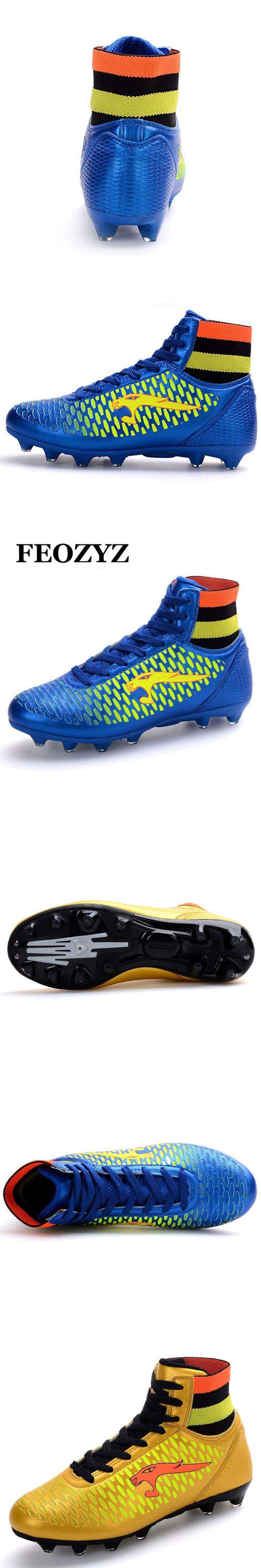 FEOZYZ Boys Kids Men Soccer Cleats High Ankle Football Shoes FG Soccer Boots Magista Botines Futbol Voetbal Schoenen Size 33-44