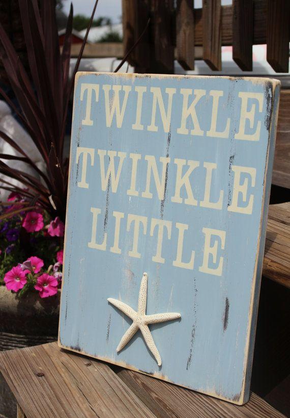 Beach Sign Nautical Nursery Decor Twinkle Twinkle Little Starfish Coastal Decor
