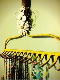 Painted garden rake- seriously so cool!Jewelry Hanger, Jewelry Holder