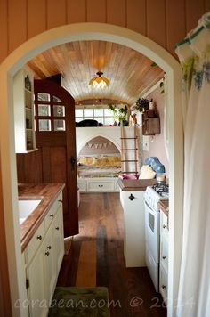 A retired school bus completely transformed into a micro living space in Portland, Oregon.
