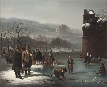 MANNER OF CHARLES LEICKERT, 19TH CENTURY SKATERS BY THE CITY WALLS