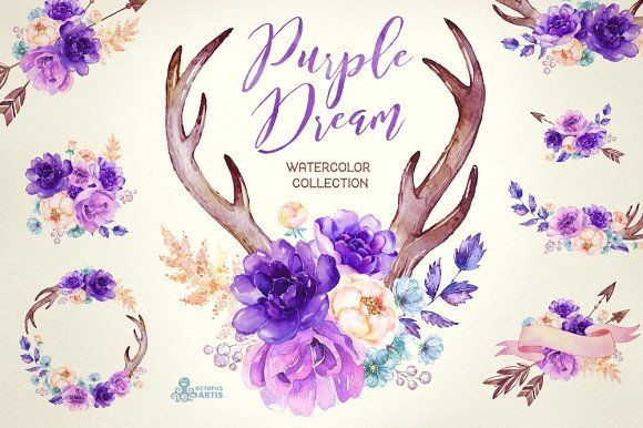 Purple Dream. Watercolor Collection by OctopusArtis on @creativemarket