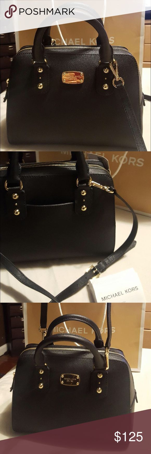 Michael Kors Saffiano black satchel crossbody Michael Kors Affiano black leather satchel crossbody. New with tags, shopping bag and receipt. Sorry no dust bag. Cross body strap is removable. Best price in Poshmark.  Michael Kors Bags Satchels