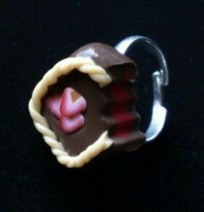 Bague chocolat fraise fimo