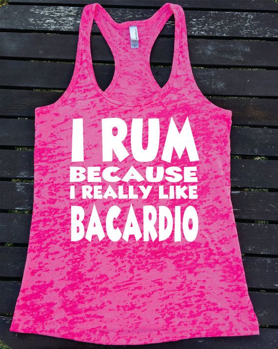 I RUM Because  I Really Like baCARDIO Ladies Burnout Racerback Athletic Fit Funny Tank Top Workout Gym Running Fitness Running Motivational