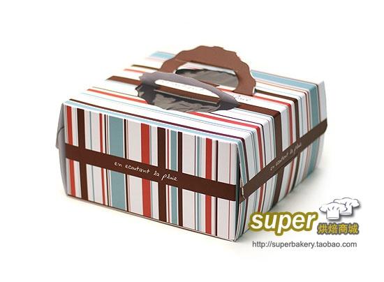 Русский Таобао - Торт упаковки в магазине * портативные 8-дюймовые белые коробки торта картона / West коробку с тортом Точка опоры * цветные полосы - 3.51, надежный Таобао на русском как ebay.