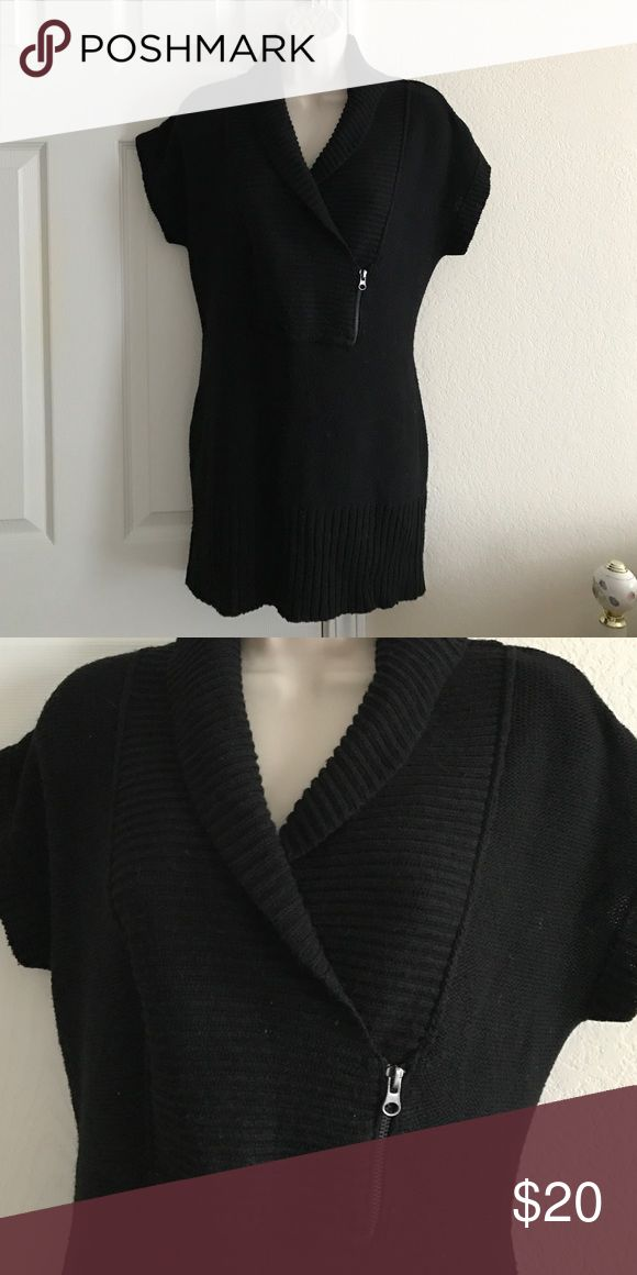 Black Tunic Style Sweater Hooked Up by I.O.T. - Black tunic style sweater top. Size L. Worn once. Excellent condition! It will go well with skinny jeans or leggings and boots! Sweaters
