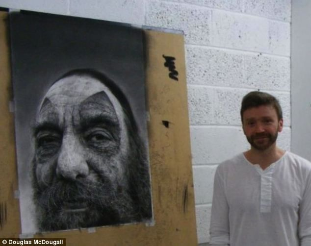 Douglas McDougall pictured with one of his lifelike portraits i see the real charcoal artists draw on a much larger scale than i do need to start doing this to capture all the deatil possible