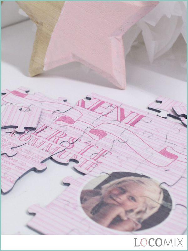 Een unieke en originele uitnodiging voor de Eerste Communie: de puzzel van LocoMix! De ontvangers komen al puzzelend achter de exacte boodschap van de communie uitnodiging!