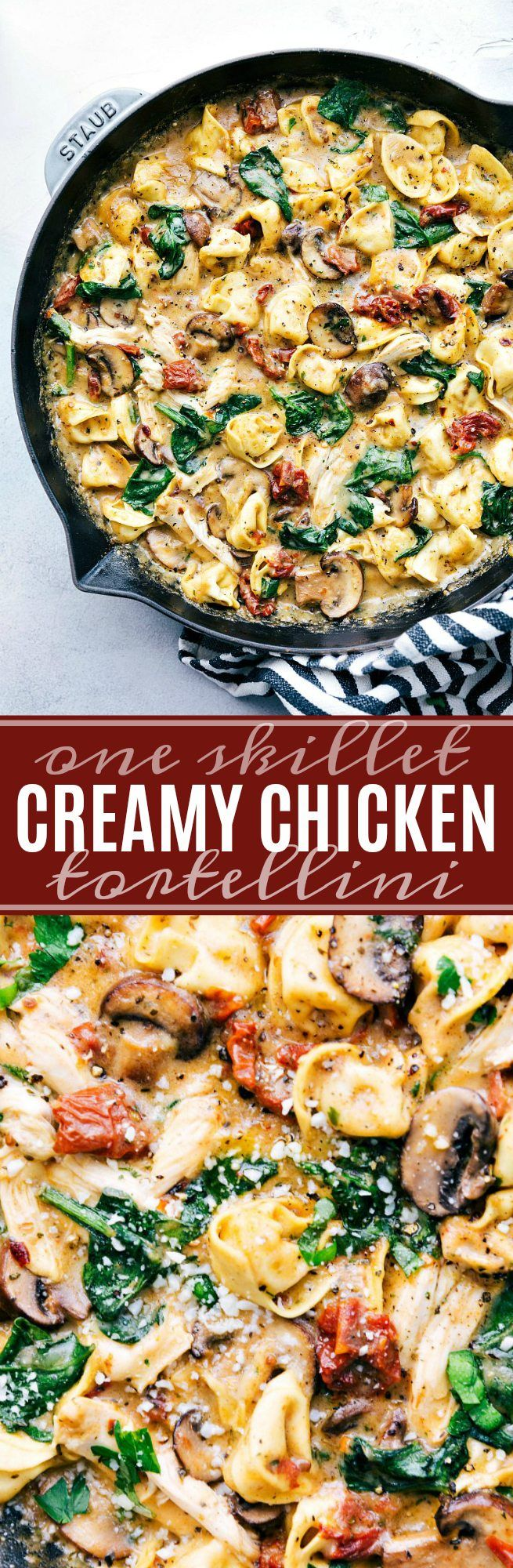 An easy and delicious dinner recipe — creamy sun-dried tomato, mushroom, spinach, and chicken tortellini prepared and cooked all in one skillet. This post is brought to you in partnership with McCorm