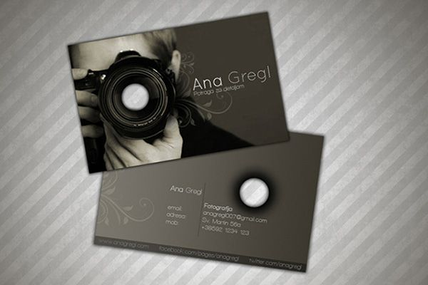 Creative Dark Photography Business Cards Sample Designed For Professional Photographer Ana Gregl