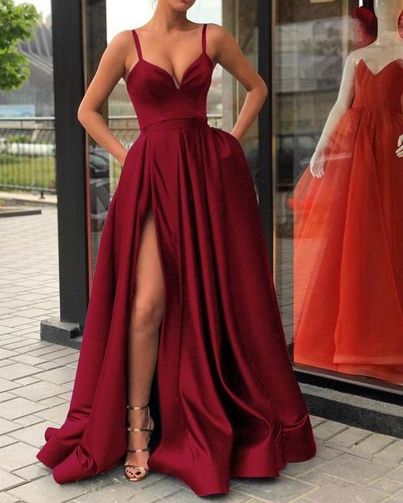 b9a7acb77d0e Custom Made A Line Champagne  Royal Blue  Burgundy  Black Spaghetti Straps  Prom Dress with High Slit