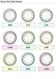 Actividades para niños preescolar, primaria e inicial. Plantillas con relojes analogicos para aprender la hora poniendo la hora en el reloj. Pon las agujas del reloj. 28