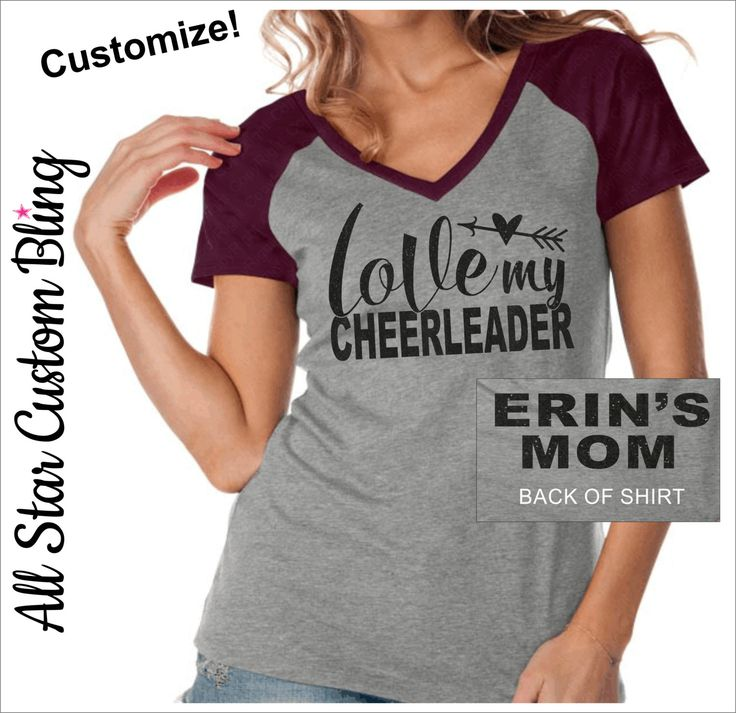 Love My Cheerleader VNeck Raglan Shirt, Cheer Mom Shirt, Mom Cheer Shirt, Custom Cheer Shirt, Custom Cheer Mom VNeck Shirt by AllStarCustomBling on Etsy