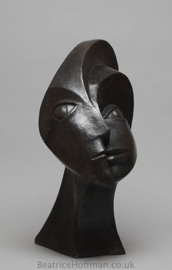 Sculpture: 'Sun and Moon (Modern Abstract Bronze resin Head)' by sculptor Beatrice Hoffman in Abstract Garden Sculptures - Garden Sculpture for sale - ArtParkS Sculpture Park - Bringing Sculpture into the Open