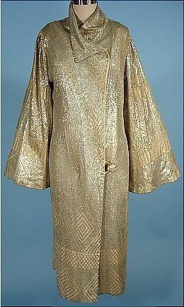 c. 1920's RARE Silver on Ecru Net Deco Evening Coat