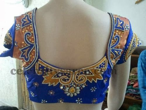 Silk and Velvet Blue Work Blouses | Saree Blouse Patterns