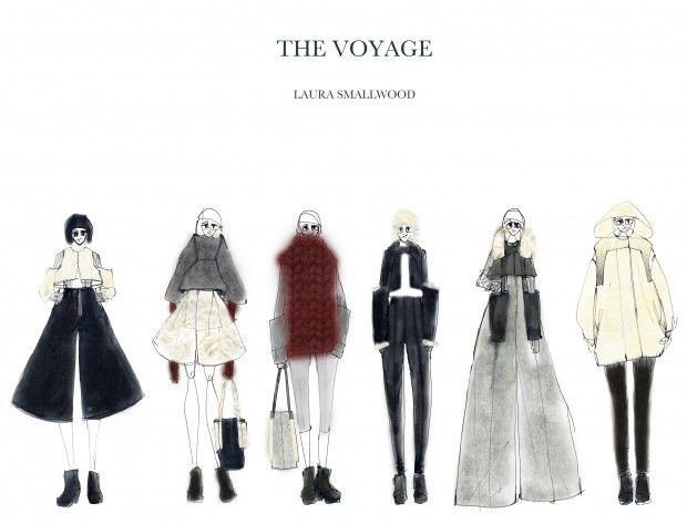 Fashion portfolio - fashion design drawings, expedition-inspired womenswear collection lineup; fashion sketchbook // Laura Smallwood