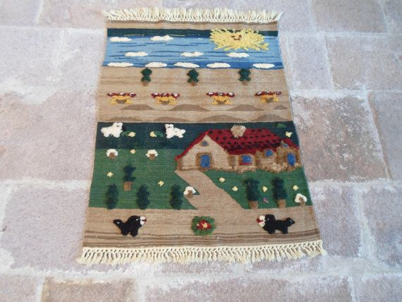 Turkish handwoven child carpet relief  Bergama hand by ArasCarpet
