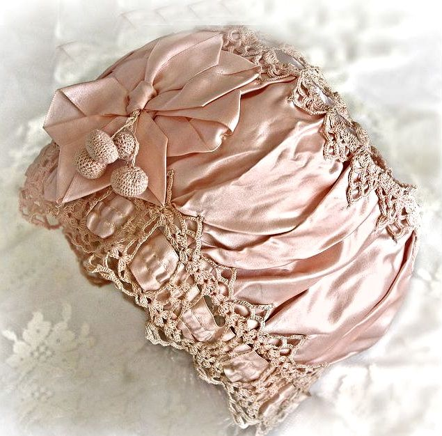 Circa 1910-1920s antique silk baby bonnet All my babies will be bonneted for as long as possible.