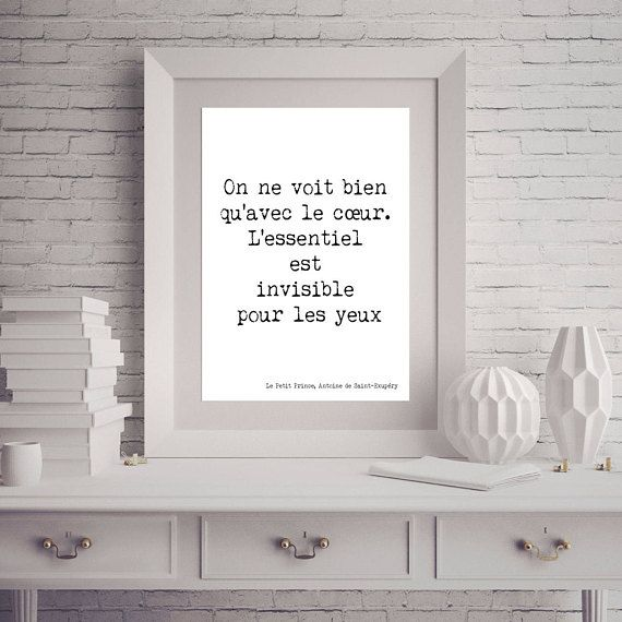Instant Download, Little Prince in French, le petit prince Printable Artwork Poster, Literary Quote, gifts for readers, 8x10, 16x20