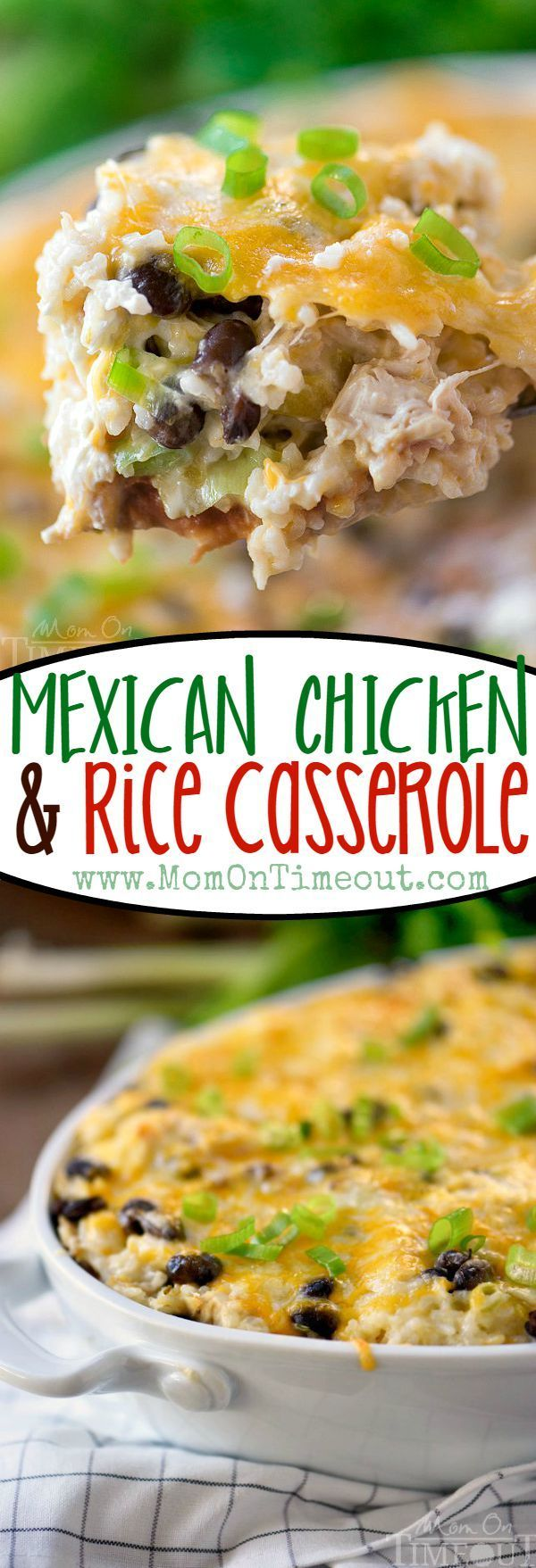 Like Mexican food? Then you've gotta try this Mexican Chicken and Rice Casserole! Full of classic Mexican flavors in an easy weeknight package! // Mom On Timeout #dinner #casserole #chicken #mexican #food #recipe #rice #easy #dinners #recipes #ad