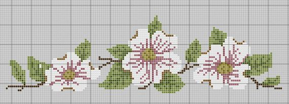 Dogwood Towel Counted Cross Stitch Pattern by Berwickbay on Etsy, $1.00