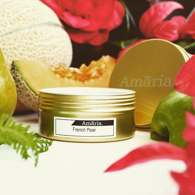 French Pear...so fragrant even unlit! Now available in Gold Tins with a 25 hour burn time.