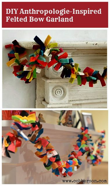 Cobberson.com anthropologie inspired felt garland.  DIY felt garland how to with instructions.