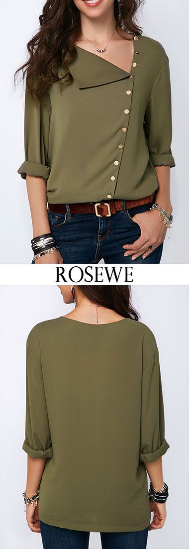 Button Detail Roll Sleeve Army Green Blouse.#Rosewe#summerfashion#fashion