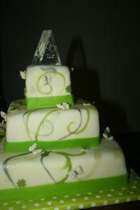 3 lagen groene thema bruidstaart