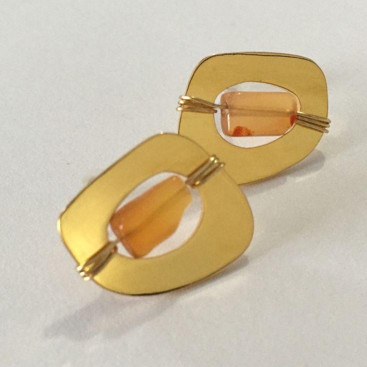 Stud earrings gold plated brass & Carnelian