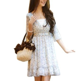 Allegra K Woman Flowery Half Sleeve Deep V Neck Above Knee Dress Blue White M REVIEW