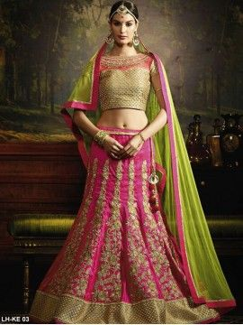 Pink And Green lehenga Choli