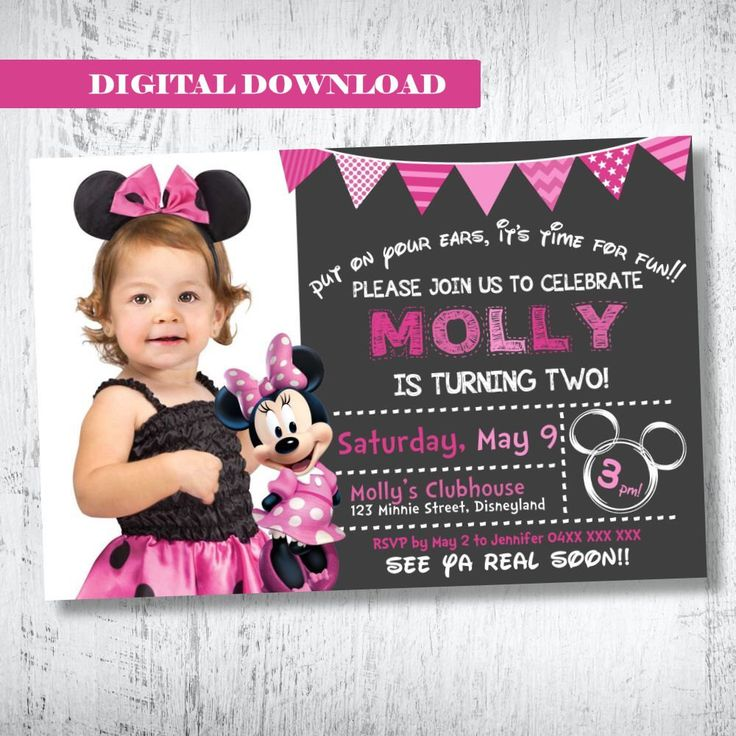 Minnie Mouse Photo Invitation.Minnie Mouse Birthday Invitation.Minnie Mouse Invitation Party Invites.Pink Minnie Mouse Invitation. Printable by WBevents on Etsy https://www.etsy.com/listing/235846523/minnie-mouse-photo-invitationminnie
