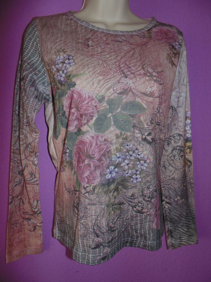 PHASE EIGHT UK 12 TOP LONG SLEEVES ROSES FLORAL PRINTED NEW