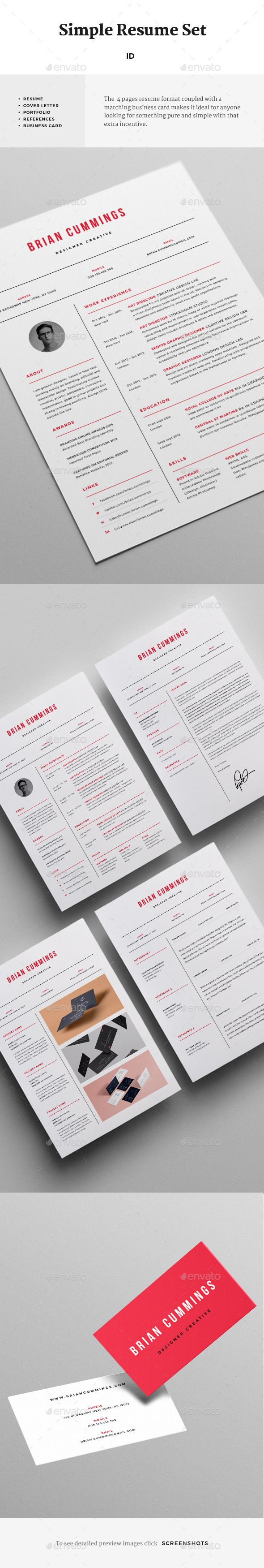 Simple Resume Set Template design Download httpgraphicrivernet