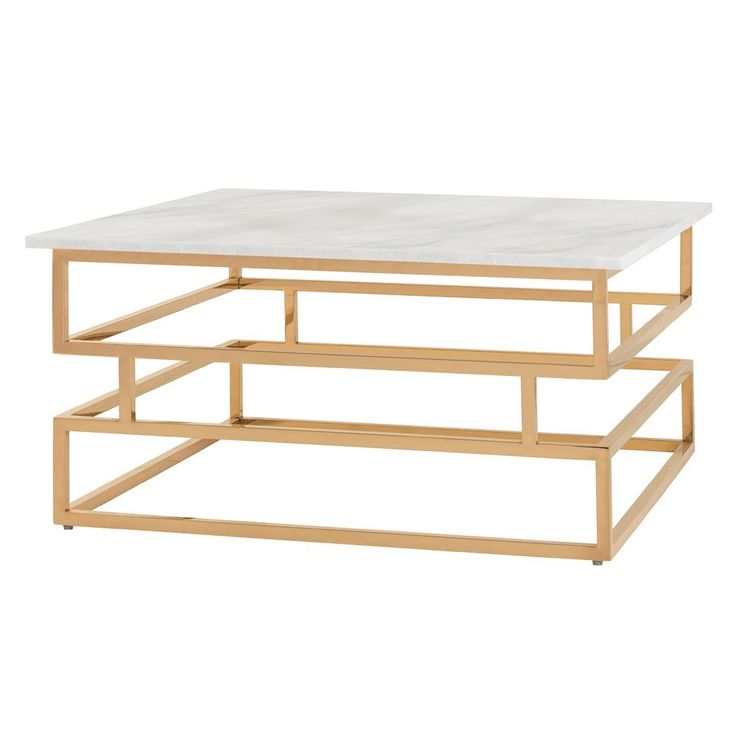 Arteriors DS9007 Troy Coffee Table In Polished Brass/White Marble