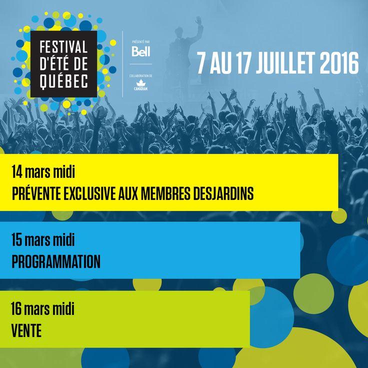Dates à retenir en prévision du prochain Festival d'été de Québec!