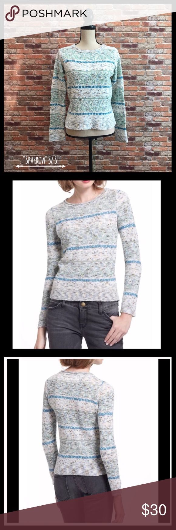 """Anthropologie Sparrow Shimmered Fair Isle Sweater Anthropologie Sparrow Shimmered Fair Isle sweater in a size medium.  Has a crew neck with bands on the cuffs, neckline, and hem.  Has shimmery threads throughout the design of the sweater.  Measures approximately 18"""" armpit to armpit and 20 1/2"""" in length.  35% cotton, 28% merino wool, 17% nylon, 15% acrylic, and 5% other fibers.  In excellent condition. Anthropologie Sweaters Crew & Scoop Necks"""