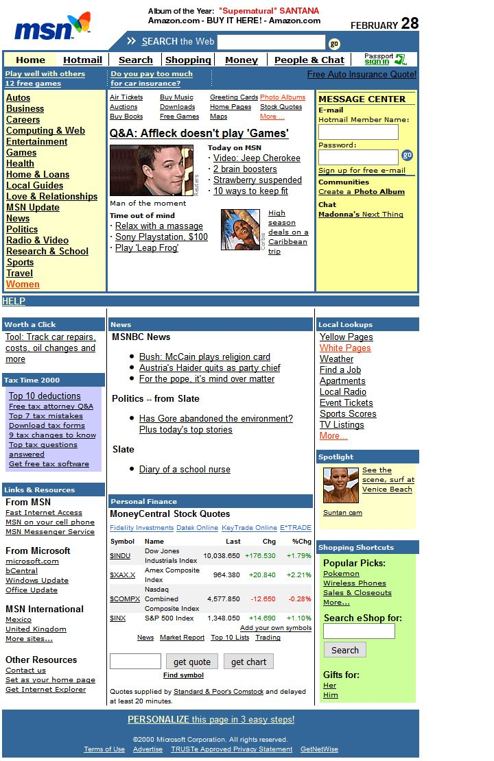 MSN website in 2000
