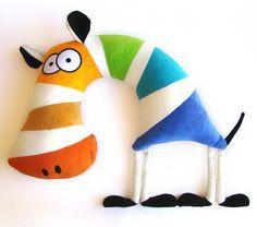 rainbow zebra neck pillow