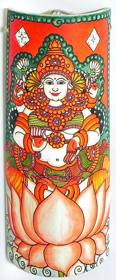 Goddess Lakshmi - Wall Hanging (Mural Painting on Bamboo))