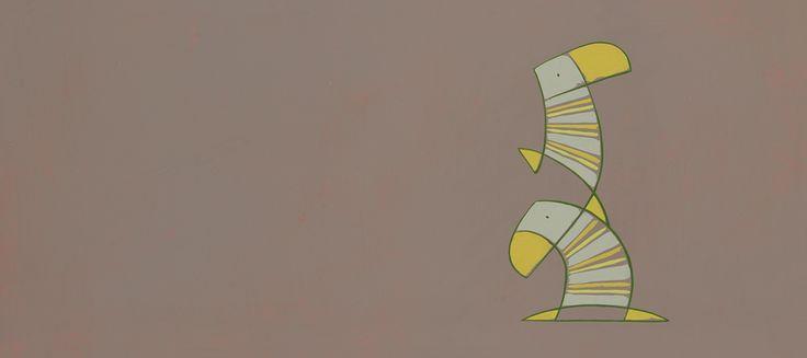 Rug op duikertjes / Get off my back puffins -   24 x 54 cm - acrylverf op papier / acrylic on paper - 2008 -  verkocht / sold